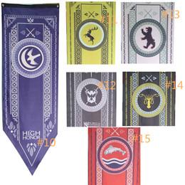 Mannschaftsflaggen online-20 stücke Haus Stark Banner Game of Thrones Wolf Turnier Outdoor Banner Flagge 48 * 150 Benutzerdefinierte Amerika USA Team Fußball College Baseball Flagge