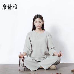 costumes de jogging en coton pour femmes Promotion Femmes Tai Chi Méditation Yoga Costume Coton Lin Lâche Large Jambe Yoga Pantalon Top Shirt Jogging Exercice Tenue Casual Ensemble
