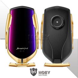 2019 магнитная накладка iphone R2 Qi Wireless Car Fast Charger 5V 2A Высокая скорость зарядки Инфракрасный датчик 360 вращения сотовый телефон кронштейн быстрой зарядки для LG Google noey