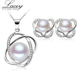 Insiemi reali di collane di perle online-Perla d'acqua dolce set collana di orecchini gioielli, argento reale 925 gioielli imposta per le donne