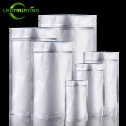 Argentina Leotrusting 50 unids / lote Resellable Levántese el papel de aluminio Bolsa Ziplock Alimentos a prueba de humedad Cremallera Bolsa de almacenamiento Café en polvo Nueces Paquete de té Bolsa Suministro