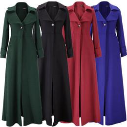 Invierno maxi vestido de lana online-Mujeres rompevientos mezcla de lana gabardinas largas mujer largo maxi outwear abrigos cálidos vestido de dama otoño invierno sobretodo chaqueta Tops