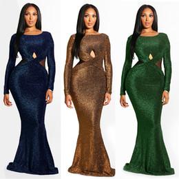2019 nuovo vestito maxi di disegno Nuovo design della sirena Vestiti Donna Maxi manica lunga scava fuori il vestito lungo elegante girocollo sexy Backless Vestito aderente Prom Dresses