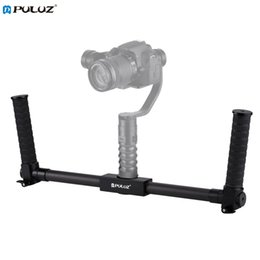 2019 handheld dslr kamerastabilisator PULUZ Leichte Kohlefasermetallstabilisator Dual Handheld Grip Bracket Gimbal Stabilizer für DSLR-Kamerahalterung günstig handheld dslr kamerastabilisator