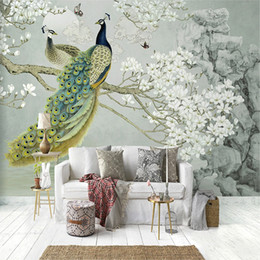 peacock wallpaper 3d Promo Codes - Custom Mural Wallpaper 3D Peacock Magnolia Flowers Wall Painting Living Room Study Home Decor Wall Painting Papel De Parede 3 D