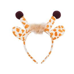 ha portato la fascia di natale Sconti LED Light Headband Lovely Antlers in peluche Flash Hairband Natale Forniture per feste Regalo per bambini Bastoncini per capelli in corno lucido GGA2557-1