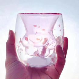2019 süße starbucks QBsomk Starbucks Tier doppelt verglaste Katze Klaue Tasse Hochtemperatur transparent Kaffeetasse Kinder niedlich Milchglas Tasse günstig süße starbucks