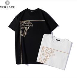 Magliette felpate per gli uomini online-2019 Hot degli uomini del progettista di stampa VRESACE girocollo T-shirt maniche corte uomo delle donne di modo di svago del cotone Hip hop di alta qualità