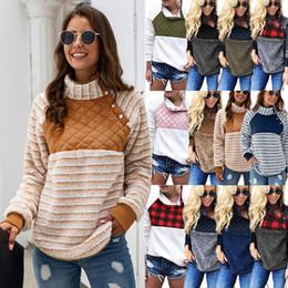 Sudadera con capucha oblicua online-Las mujeres de lana con capucha Sherpa Buffalo Compruebe Pullover Casual botón de collar oblicuo suave invierno de los abrigos remiendo sudaderas con capucha de la chaqueta GGA2791