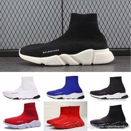 2019 дизайнер мужчины женщины скорость тренер мода люксовый бренд носок обувь черный белый красный блеск плоские мужские тренеры Бегун кроссовки размер 36-45 от Поставщики кроссовки с блестками