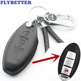 abdeckung für nissan autoschlüssel Rabatt FLYBETTER Echtes Leder 3 Taste Keyless Entry Intelligenter Schlüssel Fall Abdeckung Für Nissan Car Styling (B) L02