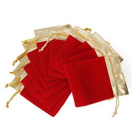 Canada 10pcs / Set Cordon Organza Bijoux sac pochette Velours Cadeau Sac Etui Faveur De Mariage Rouge Flanelle Cadeau sacs- supplier red flannel bag Offre