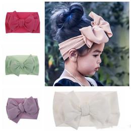 10 colori di moda delle neonate grandi fasce dell'arco elastico Bowknot hairbands bambini cappelli bande copricapo testa neonato della testa del turbante WrapsBig arco da