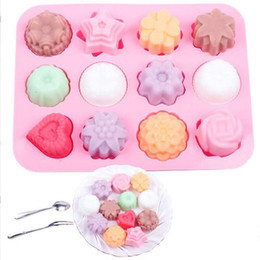 handmade cake flowers Promo Codes - DIY Silicone Soap Mold 12 - hole Flower and Silica Gel Cake Mold Pudding Jelly Molds Handmade Soap Chocolate Soap Mould