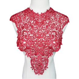 Patch de tecido redondo on-line-Colares de Tecido Vermelho vinho Apliques Em Torno Do Pescoço Oco Guarnições Costurar Em Patches Bordados Para O Vestido de Noiva Do Casamento DIY