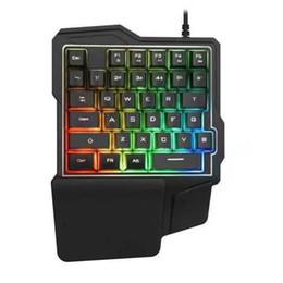 механическая клавиатура с подсветкой Скидка Новый горячий Android мобильный телефон механическая игра, посвященная клавиатуре K7 левой рукой одной рукой проводная клавиатура с подсветкой ДЛЯ: мобильный телефон планшет