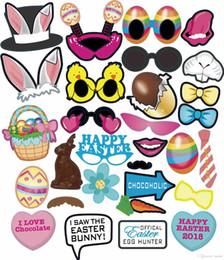 Adereços de páscoa on-line-Atacado Easter Bunny Chick Papel Adereços Brinquedo Decoração de Páscoa Brinquedos de Desenho Rabbit Egg Easter Party Photo Adereços