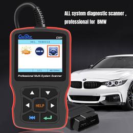 Redefinição de serviço obd2 on-line-C501 Código OBD2 Leitor AC EPS Serviço Oil Repor EPB ABS Airbag Full-Sistema de Diagnóstico Scanner para BMW e46 e39 e90 e60