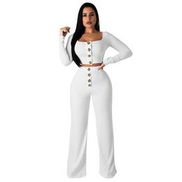 botão de calças de cintura alta Desconto 2019 High-end cor sólida sexy baixo-pescoço de mangas compridas umbilical T-shirt botão em linha reta cintura alta calças dois ternos