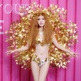 ballerina d'oro spandex Sconti Nightclub Female Leading Dancer Costumi Bar DJ Cantante Performance Abiti Spettacolo di modello Passerella Sexy Bikini con ali d'oro