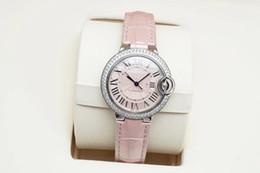 Relojes de mujer correa blanca online-Correa de cuero rosa de calidad superior WE900651 para mujeres Dial blanco Automático Mecánico de plata inoxidable con caja de acero inoxidable Reloj 36 MM