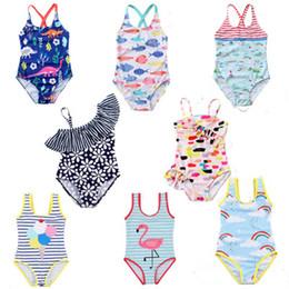 Kind bikini mode online-Kinder Bademode Baby Unicorn Flamingo Dinosaurier Blumenregenbogen-Streifen-Druck-Badeanzug 2019 Summer Fashion Bikini Kinder One-Pieces