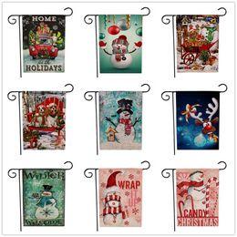 decoracion de banderas Rebajas 9 estilos Navidad Jardín Banderas Banderas Patrón de dibujos animados Tema de Navidad Dos lados animal Patrones de muñeco de nieve Decoración de fiesta Bandera FFA2826
