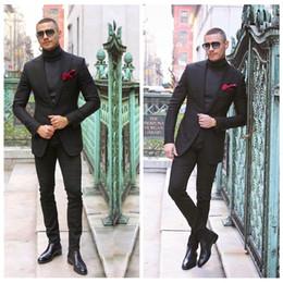 2019 groomsmen smoking preto prata Elegante Black Mens Terno Duas Peças Tailor Made Smoking Do Casamento Slim Fit Noivo Groomsmen Ternos Formais (Jacket + Calças) groomsmen smoking preto prata barato