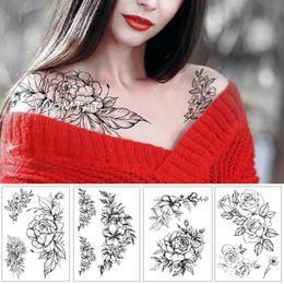 Deja tatuajes online-Flor geométrica Rose Eye Leaves Etiqueta engomada del tatuaje temporal a prueba de agua Diamond Peony Black Tattoos Body Art Arm Fake Tatoo SH190729