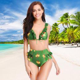 500931bf30e Sexy Boho Bikini Set Print Women High Waist Slim Fit Ruffle Fashion Swimsuit  Print Retro Bathing Suit Summer Swimwear Beach Wear