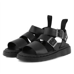 black punk sandals Promo Codes - Jady Rose Punk Style Women Gladiator Sandals Black Flat Shoes Woman Casual Thick Heel Beach Flats Sandalias Mujer 2019 Summer