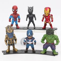 Ironman toy pvc online-Juguetes Marvel Avengers 8-10 cm Infinity War Thanos Ironman Spiderman capitán Hulk Negro Pantera acción del PVC Figuras Modelo