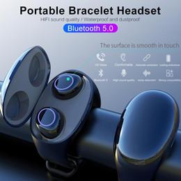 Bluetooth-гарнитура для телефонов с часами онлайн-HM50 СПЦ по Bluetooth 5.0 портативные наушники браслет наушники в ухо Беспроводные спортивные фитнес часы для хранения наушников зарядное устройство для всех телефонов