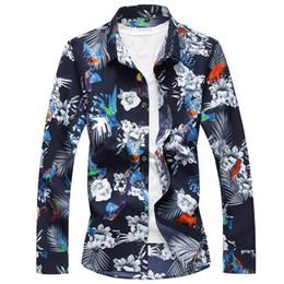 2020 camisa de vestido da flor dos homens Mangas compridas Homens Camisas de Vestido Floral Moda Camisa Masculina Moda Blusa Flor Dos Homens de Verão Tamanho M-6XL desconto camisa de vestido da flor dos homens