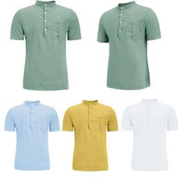 camiseta xl dupla Desconto Mens De Linho Manga Curta T-shirt Sólidos De Verão Casual Solto Soft Tops Tee