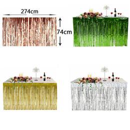 Falda de pared online-Falda de mesa con flecos metálicos Fiesta de bodas Lámina de cumpleaños Tinsel Tassel Table Wall Cortina Decoración