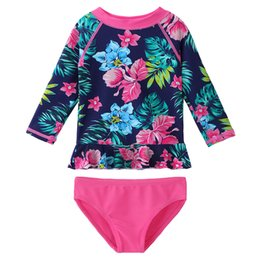 9aafdea228 China BAOHULU Baby Girls Clothes Two-piece set UPF50 Long Sleeves Floral  Printed with Ruffles