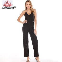 комбинезоны женские дамские Скидка BALIWEISA Sexy V Neck Strap Lace Jumpsuits Black Women Summer Bodycon Rompers Elegant Office Lady Work Overalls Backless Female