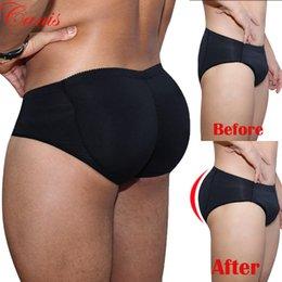 shapewear butt pad Rabatt Sexy Black Briefs Men Gepolsterte Butt Briefs Booster Enhancer Flacher Bauch Unterwäsche Shapewear Plus Size S-3XL