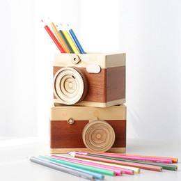 Mesas simples on-line-Criativo de madeira simples câmera caneta lápis coleção titular classificador mesa organizador decoração, câmera maquiagem escova secretária de armazenamento