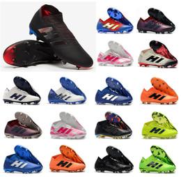 2019 messi ao ar livre Nova Nemeziz 18.1 18 + FG Archetic Messi Mens 18 + x Sapatos De Futebol Agilidade Bandage Modo Spectral Botas De Futebol Chuteiras Tamanho US6.5-11 messi ao ar livre barato