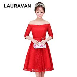 rote Farbe jugendlich kurze bescheidene Boot Hals Ärmel geschwollene Gelegenheit Brautjungfer Kleider 2019 Korsett Ballkleid Kleid formal von Fabrikanten