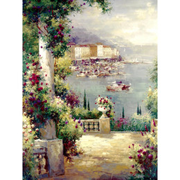 hand painted garden Promo Codes - Hand painted oil paintings garden Landscapes Capri Vista I canvas art for wall decor