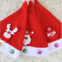 chapéu apliques atacado Desconto Decorações de natal Adulto Chapéu das Crianças Fontes Do Partido Do Partido Applique Dos Desenhos Animados das Crianças Chapéu de Natal Por Atacado