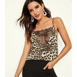 Spaghettibügel-t-shirt online-2019 Women Lady Fashion Cool Spaghetti Strap Lace Leopard Print Vest Loose Sleeveless Backlesss Tank T-Shirt Top Camis Tops