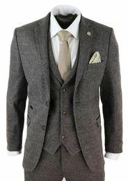 vestito di colore marrone Sconti Mens Wool 3 pezzi check completo di tweed marrone Tailored Fit Peaky Paraocchi Brown di promenade del vestito (jacket + pants + vest)