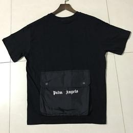 Bolsillo grande online-FOTOS REALES Plam Angels Camisetas Verano Casual Algodón Hip Hop Volver Gran bolsillo Plam Angels Camiseta 19SS Moda Plam Angels negro camiseta
