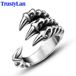 bikers patch Promo Codes - ring patch TrustyLan Size 7-12 Punk Rock Stainless Steel Mens Rings Man Gothic Biker Jewelry Silver Color Dragon Claw Finger Ring Male
