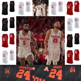 houston basquete Desconto NCAA Houston Cougars Camisolas de Basquetebol Corey Davis Jr. Armoni Brooks Dejon Jarreau Galeno Robinson Jr. Nate Hinton