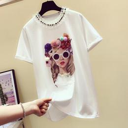 2019 İlkbahar Yaz Beyaz Tshirt Yeni Kore Gevşek Moda Baş Üç Boyutlu Çiçek Dantel Yuvarlak Yaka T-shirt Öğrenci Tops nereden